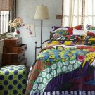 2 Pcs Anthropologie Twin Pavo Quilt + Twin Bedskirt Comforter Whimsical Peacock