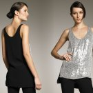 2 Diane Von Furstenberg Desta Embellished Top Silver Sequins Black Silk Club Small DVF