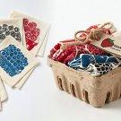 Anthropologie Mixed Berry Napkin Basket Set of 4 & Holder