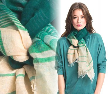 Eileen Fisher Crinkle Stripe Linen Scarf Ombre Dragonfly Green GORGEOUS NWT