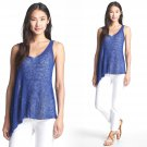 XS Eileen Fisher V-Neck Flutter Shell Top Tank Adriatic Blue XSmall 0 2