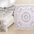 Anthropologie Enes Duvet Cover Full Double Grey Gray Medallion Applique