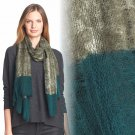 Eileen Fisher Two-Tone Wool Scarf Gauzy Wool Caper Lacy Tendrils NWT Greens Bluess
