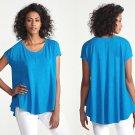 XS Eileen Fisher Scoop Neck Box Top SS Cotton Hemp Twist 0 2 XSmall Crystal Blue
