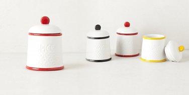 1 Piece Anthropologie Striped Spice Jar Red & White Stoneware NIB
