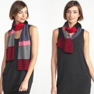 Eileen Fisher Merino Stripes Scarf Garnet Long Warm Happy Grey PInk Black Red