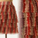10 Anthropologie Terrawatt Skirt Large $148 Anna Sui Ruffles Crepe Zig Zag