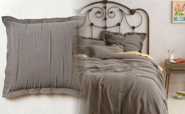 2 Pcs Anthropologie Sophie Linen Euro Sham Grey Woven in Portugal