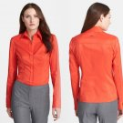 10 Hugo Boss Bashina Orange Shirt Blouse ZippersBothSides Women Large
