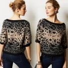 L Anthropologie Leopard Dolman Top Sweater Large 10 12 Made in Italy Black & Brown