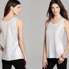 M Eileen Fisher Silver U Neck Long Tank Top Medium NWT Linen Jersey Shimmer