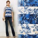 S Anthropologie Floral Stripe Tee Top Blue Small Cheerful Happy Machine Wash NWT