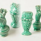2 Pcs Anthropologie Shangri-la Salt & Pepper Shaker Set Green Exotic Flora Fauna