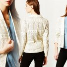 Anthropologie Vegan Leather Lasercut Blazer Small 2 4 iVORY Dolce Vita