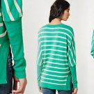 M Anthropologie Annecy Pullover Top Medium 6 8 Sweater Medium 6 8 Green Motif Stripes Yellow Bird