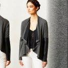 Anthropologie Contrast Study Cardi Cardigan Sweater Dark Grey Small 2 4 Bordeaux