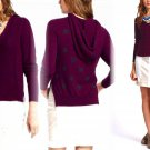 Anthropologie Dotted & Cabled Hoodie Purple Small 2 4 Yoon Wine Purple