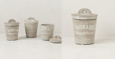 3 Pcs Anthropologie Hand-Casted Spice Cellar 4 oz Belgian Flower Pots Inspirted Cement