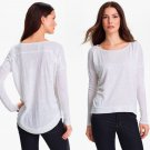 S Eileen Fisher Slub Linen Tee White Small 2 4 Curved Hem Dropped Shoulders