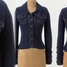 $128 Anthropologie Anchored Demin Knit Cardigan Small 2 4 Blue Sweater Angel of the North