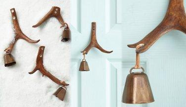 Anthropologie Reindeer Antler Doorbell Holiday Horn Leather Steel HARDWARE REQUIRED