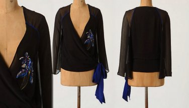 4 Anthropologie Piped Wrap Top Blouse $198 Leifsdottir Shirt Navy Evening