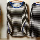 XS Anthropologie Stripezip Tee Top Black Motif with Blue Trim XSmall NWT Lili's Closet 0 2