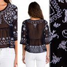 M Free People Pennies Sequel Embroidered Top Medium 6 8 Blouse Shirt Navy Combo NWT