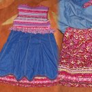Oilily Girl's Denim & Knit Dress 7 / 8 Euro 128 Corduroy Ric Rack & Velvet Trim