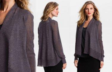 M Eileen Fisher Shimmering Cardigan Medium 6 8 Angled Hem Wool Twilight $298 Sparkle