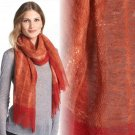 Eileen Fisher Two-Tone Wool Scarf Lava Gauzy 100% Wool