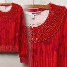 Anthropologie Bebop Cardigan Sweater Medium 6 8 Red Motif Tracy Reese Beaded Collar