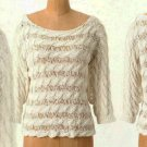 Anthropologie Tape Yarn Pullover Ivory Small 2 4 Moth Cable Like Stripes
