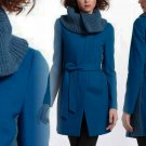 Anthropologie Judith Collar Coat 2 XSmall Blue Turquoise Elevenses Knit Side Panels
