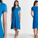 XS Eileen Fisher V-Neck Organic Cotton & Hemp Dress XSmall 0 2 Crystal Blue