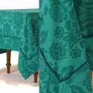 "Anthropologie Magnolia Tablecloth Dark Turquoise 72"" x 90"" Cotton NWT"