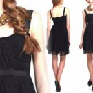 S Anthropologie Effervescent Dots Dress Small 2 4 Black Romantic Ribbon & Lace