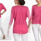 Anthropologie Silk-Spun Top Small 2 4 Shirt Tee Bright Pink Drape Blouse