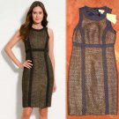 Size 6 Michael Kors Fray Dress Metallic Tweed Sheath Color Block Black & Gold Knit