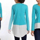 Anthropologie In Parallel Pullover Small  2 4 Top Shirt Blue Asymmetrical Polka Dots