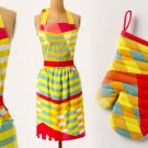 2 Pcs Anthropologie Primavera Spectrum Apron & Oven Mitt Bright Happy Hot Rainbow Colors