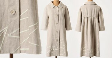 $198 10P Anthropologie Diagonals Coat Large Petite Linen Elevenses