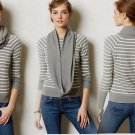 M Anthropologie Pointelle Cowlneck Medium 6 8 Striped Grey Motif Change of the Moon