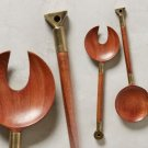 2 Pcs Anthropologie Homestead Serving Set Sheesham Wood & Brass
