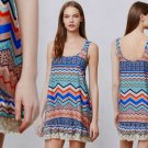 S Anthropologie Soleil Shift Small 2 4 Dress Blue Motif Lace Hem Detailing
