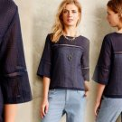 Anthropologie Senna Top 12 Large Navy Blue Blouse Shirt HD in Paris