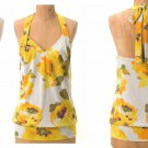 Anthropologie Gilded Lily Halter Top Small 2 4 Blouse Yellow Motif