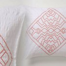 Anthropologie Corin Euro Sham White Cotton Percale Orange Chevron Embroidery NIP