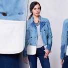 4 Anthropologie Holding Horses Denim Peacoat Small Jacket Blue & White Cotton