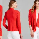 XS Eileen Fisher Organic Linen Angle Front Cardigan XSmall 0 2 Strawberry Pink
